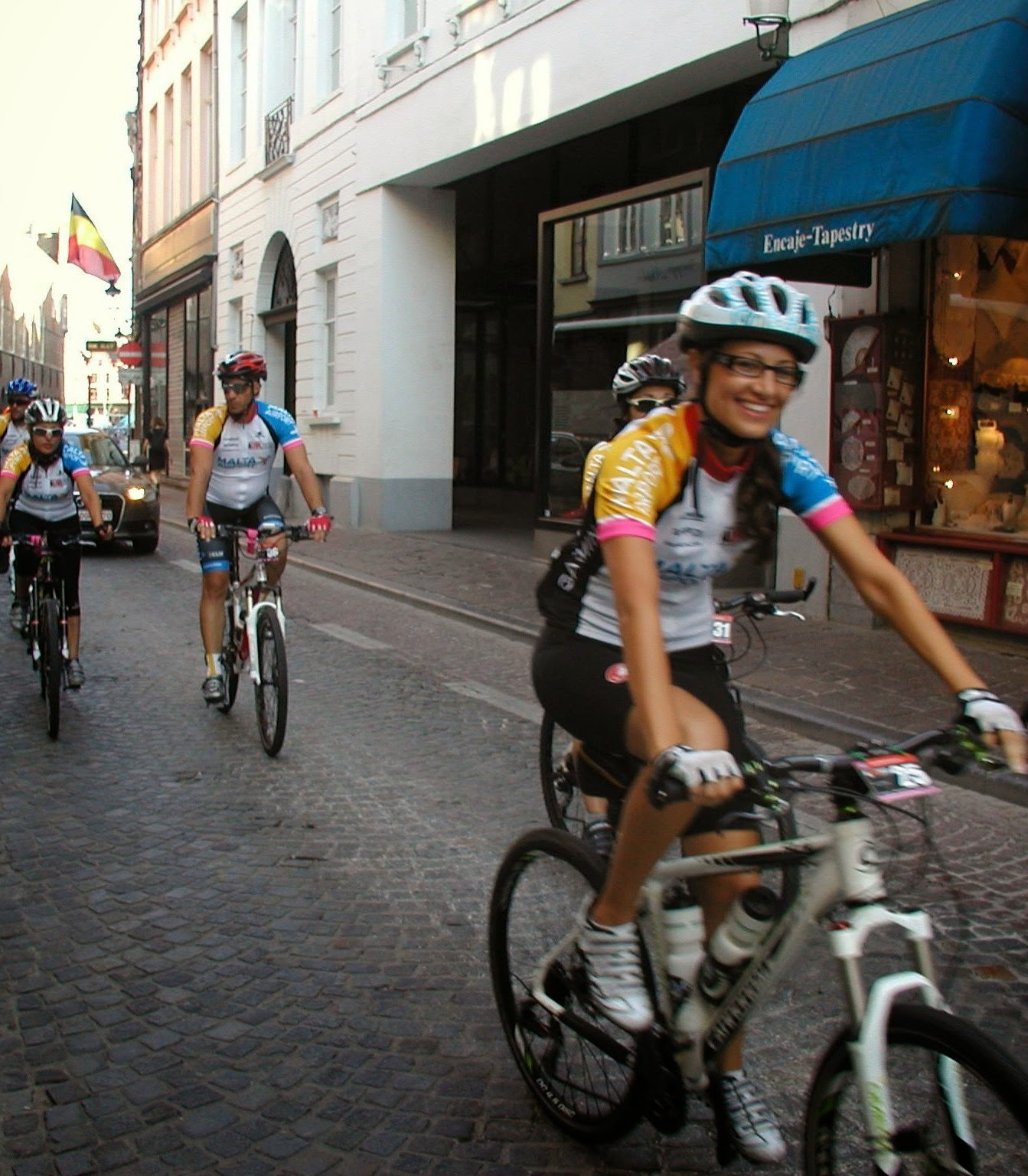 Cycling the cobbled streets while cycling the London to Paris Bike