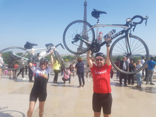 Finish charity cycling event in Paris