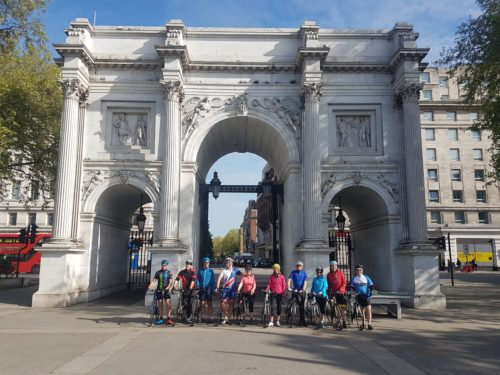 Marble Arch start for the London To Paris bike ride
