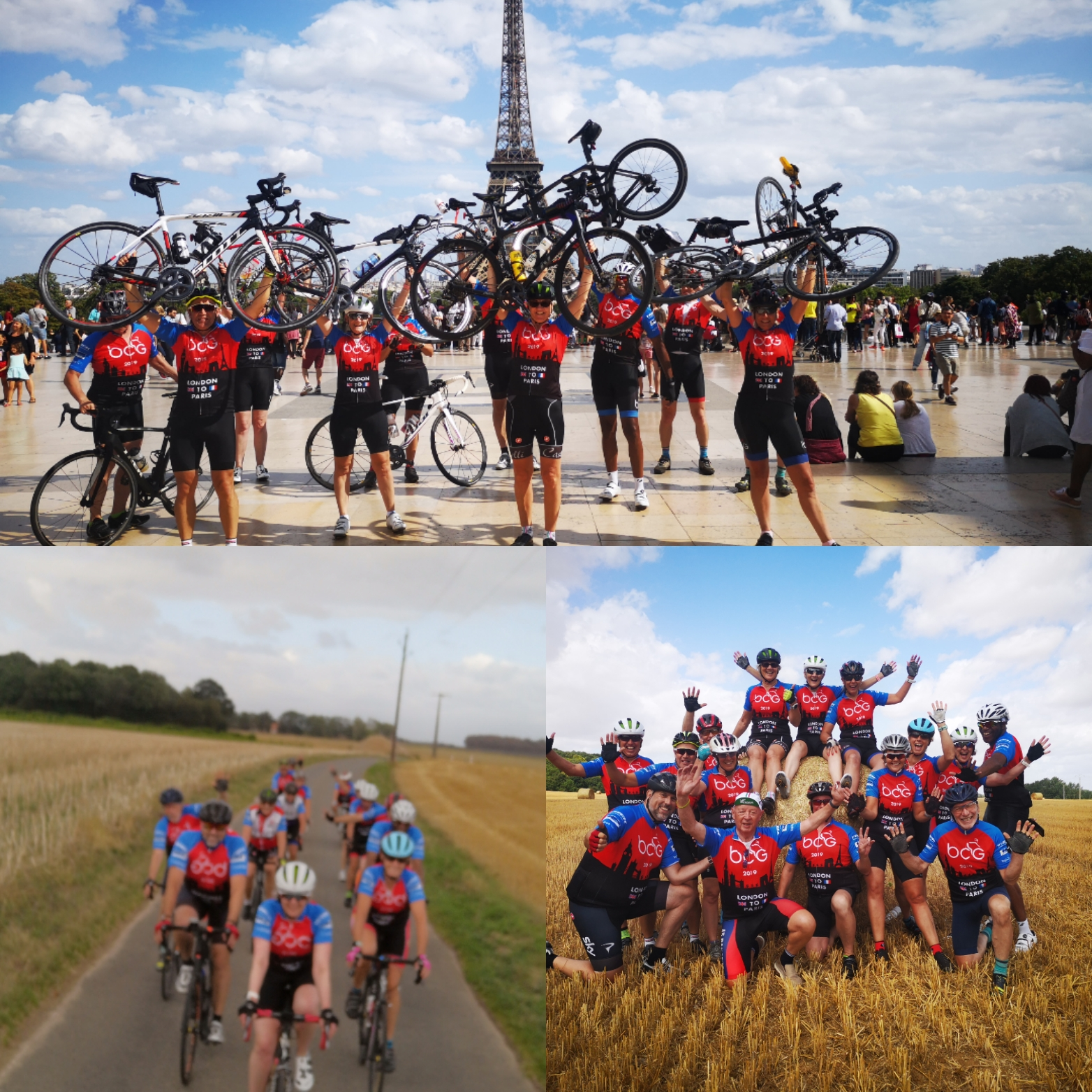 Cyclists in Paris after cycling London to Paris bike ride