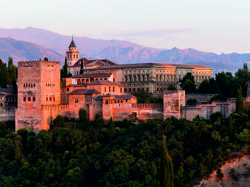 cycling to Alhambra, Spain